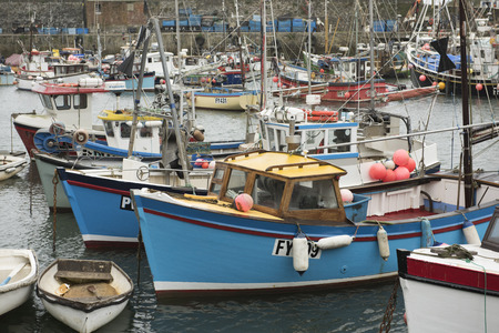 moorings: Harbour with boats in Mevagissey, Cornwall, UK
