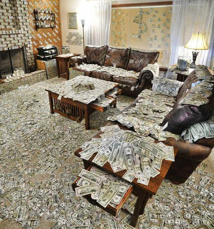 million: A sitting room where all the furniture and floor surfaces are covered with bank notes or cash, and the walls are decorated with additional notes