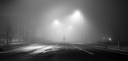 重い霧との夜に通りの黒と白