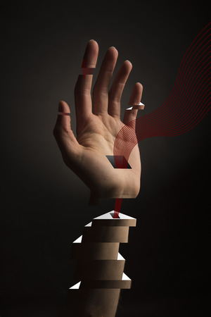 robot arm: Abstract Hand with blocks and holes with red lines flowing out, perhaps symbolizing blood transfusion or transhumanism