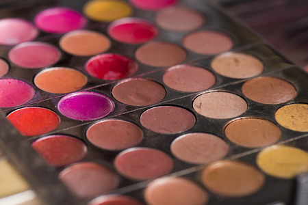 Close Up of Circular Colorful Lip Glosses and Shadows in Make Up Palette
