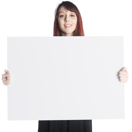 partisan: Young Teenage Woman Holding Large Blank White Board or Sign in front of Self, with Copyspace