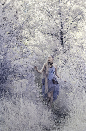 make believe: Colorized Full Length Portrait of Young Woman Wearing Purple Gown Walking on Forest Path and Exploring Wooded Environment - Fairy Tale Quality Stock Photo