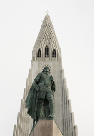 Statue of Leif Erikssonin front of the famous church Hallgrimskirkja in Reykjavik Iceland