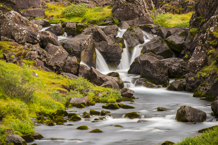 Waterfall Long Exposure iwth grass and rocks