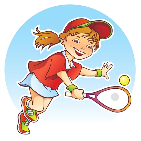 lively: Sportive girl playing tennis Illustration
