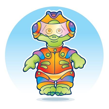 Friendly alien wearing space suit Stock Vector - 13934047