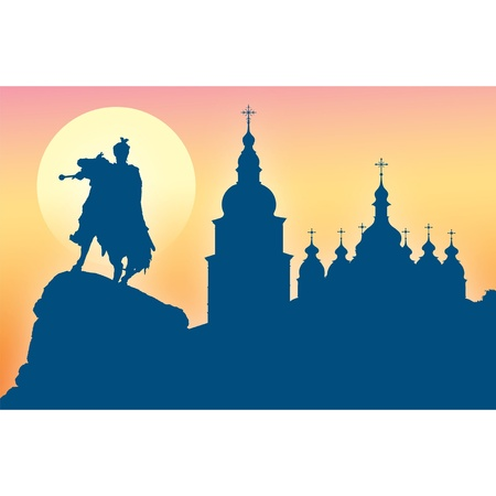 bell tower: Silhouette of St Sophia Cathedral and monument to Bogdan Khmelnitsky in Kiev, Ukraine Illustration