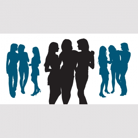 three friends: Silhouettes of three young women chatting with each other Illustration