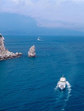 speedboat: View over the Black sea near Yalta, Crimea, Ukraine Stock Photo