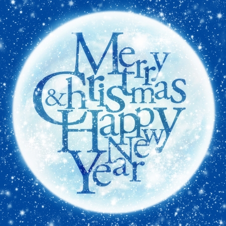 Merry Christmas & happy new year inscription, shining moon in the background   Stock Photo