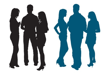 Silhouettes of a group of youth chatting with each other Stock Illustratie