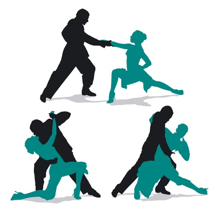 argentine: Silhouettes of couple dancing Argentine tango