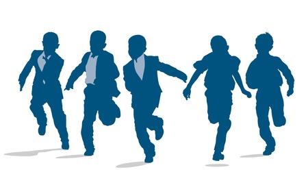 Silhouettes of elementary school boys running outside Stock Illustratie