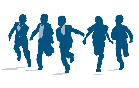 school boys: Silhouettes of elementary school boys running outside Illustration