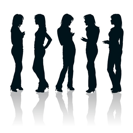 woman speaking: set of young women gesturing silhouettes