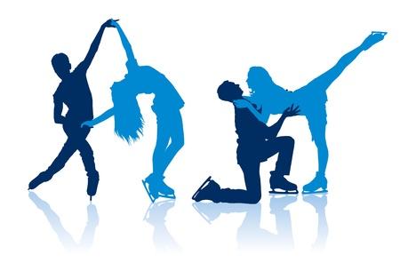 Detaillierte Vektor-Silhouetten der Eiskunstläufer