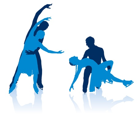 Detailed silhouettes of figure skaters Vector