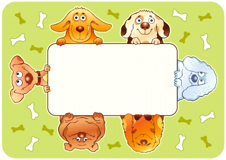 Funny dogs holding blank board  Vector