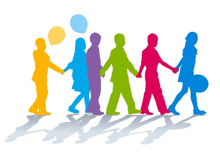 girls holding hands: Silhouettes of elementary school children holding hands Illustration