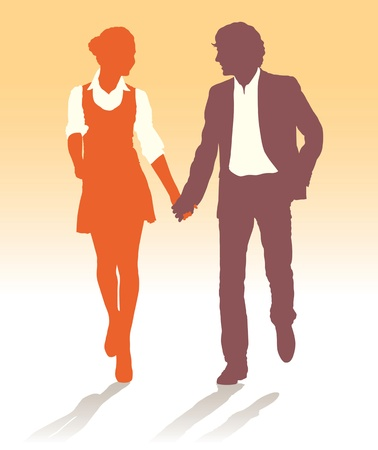 walking on hands: Silhouettes of teenagers couple walking together holding hands Illustration