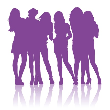 Silhouettes of teenage schoolgirls talking to each other