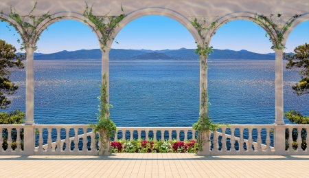 colonnade: Terrace with colonnade overlooking the sea and mountains