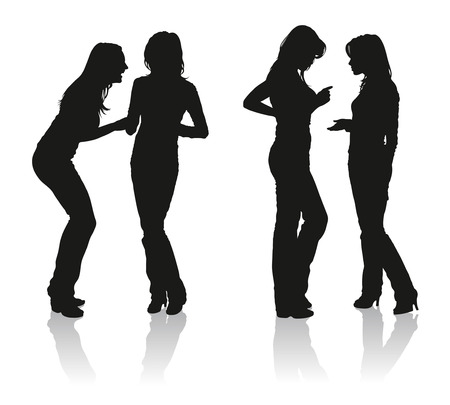 Silhouettes of two young women talking with each other Illustration