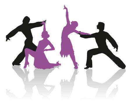 ballroom dance: Detailed silhouettes of couple dancing ballroom dance