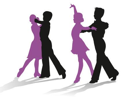 niños bailando: Siluetas detalladas de jóvenes bailarines de salón