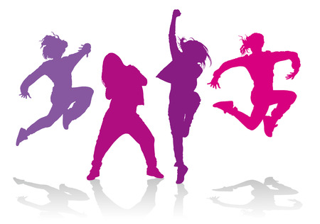 Detailed silhouettes of girls dancing hip hop dance Vector