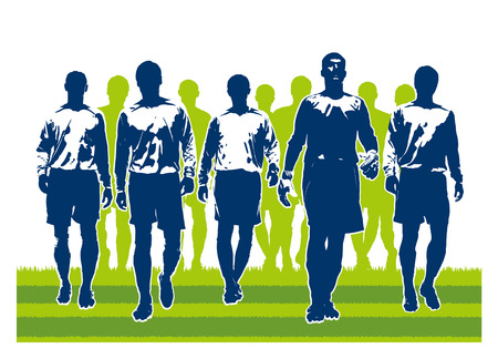 silhouettes of soccer team players going to match royalty free cliparts vectors and stock illustration image 33755109