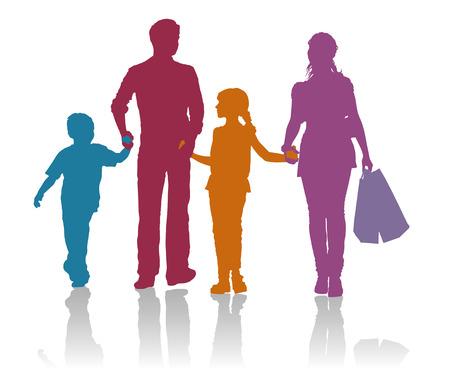 ni�os de compras: Compras de la familia siluetas detalladas Vectores