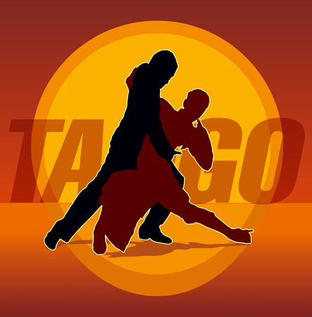 tango: Detailed silhouettes of couple dancing argentine tango Illustration