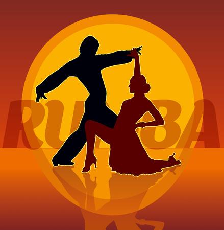 baile latino: Siluetas detalladas de pareja de baile latinoamericano baila