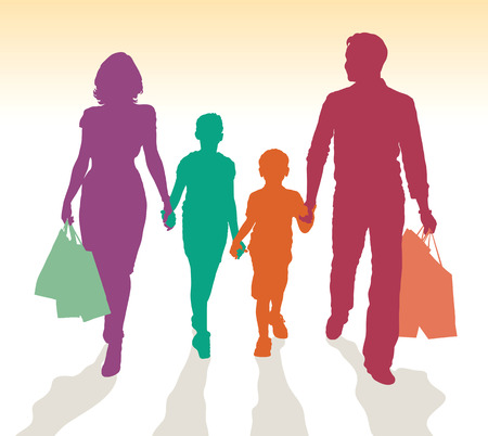 kid shopping: Family shopping detailed silhouettes