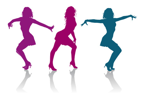 sexy dancer: Detailed silhouettes of girls dancing ladies dance