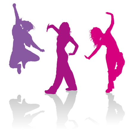 hip hop dance: Detailed silhouettes of girls dancing contemporary dance Illustration