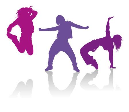 silueta: Siluetas detalladas de chicas bailando la danza hip-hop