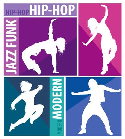 modern dance: Detailed silhouettes of girls dancing modern dance styles