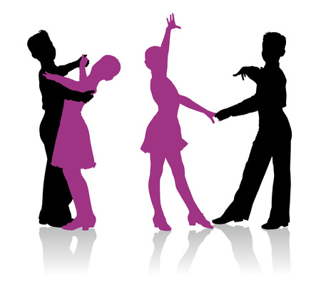 ballroom dance: Detailed silhouettes of young ballroom dancers