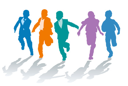 elementary: Vector silhouettes of elementary school boys competing in speed
