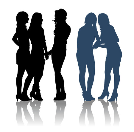 girlfriends: Detailed silhouettes of girlfriends talking to each other