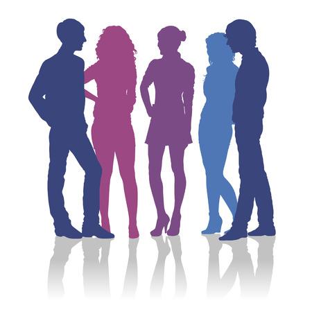 personas platicando: Siluetas detalladas de adolescentes hablando el uno al otro