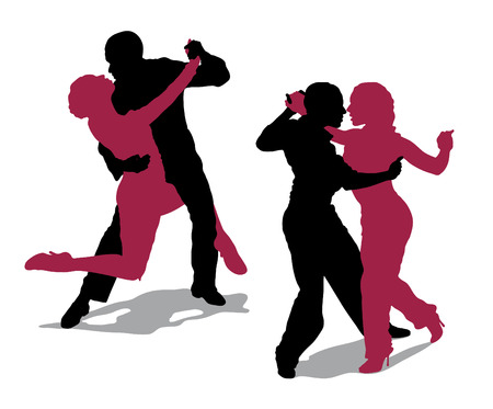 argentine: Detailed silhouettes of couple dancing argentine tango Illustration