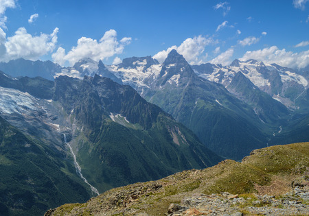 dombay: Mountain peaks view in Dombay, Western Caucasus, Russia
