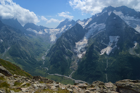 dombay: Mountains and glaciers view in Dombay, Western Caucasus, Russia