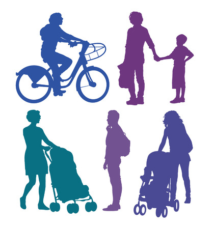 urban people: Urban people silhouettes Illustration