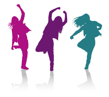 hip hop dance: Detailed vector silhouettes of girls dancing hip-hop dance