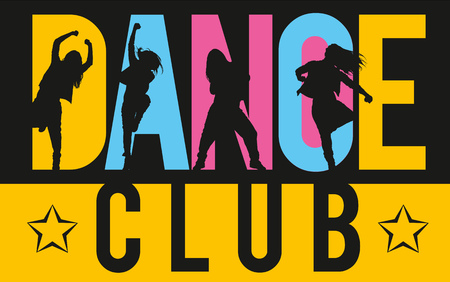 dance hip hop: Silhouettes of expressive girls dancing modern dance styles inside lettering dance club